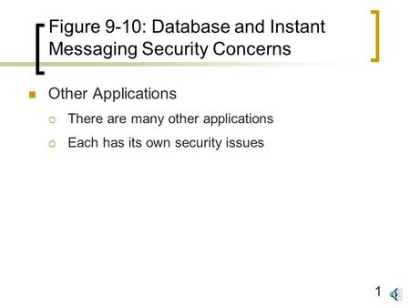 1 Figure 9-10: Database and Instant Messaging Security Concerns Other Applications  There are many other applications  Each has its own security issues.