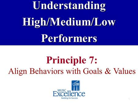 1 Principle 7: Align Behaviors with Goals & ValuesUnderstandingHigh/Medium/LowPerformers.