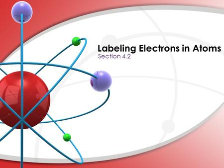Labeling Electrons in Atoms. 2) Three numbers give the location of the electrons. The forth describes the spin of the electron. 3) The first quantum number,