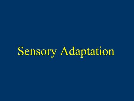 Sensory Adaptation. Diminished sensitivity as a result of constant stimulation If a stimulus is constant and unchanging, eventually a person may fail.
