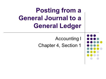Posting from a General Journal to a General Ledger Accounting I Chapter 4, Section 1.