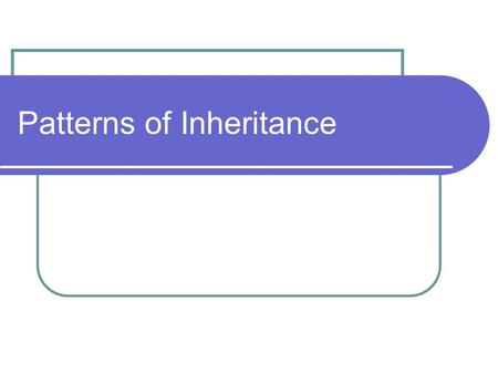 Patterns of Inheritance. I: Mendel's laws Two factors called genes control each trait For each gene, organisms receive one allele (form) from each parent.