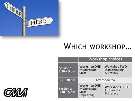 W HICH WORKSHOP … Workshop choices Session 1 1.30 – 3 pm Workshop ONE Multivariate Stats Workshop TWO Stats thinking & literacy 3 – 3.30 pmAfternoon tea.