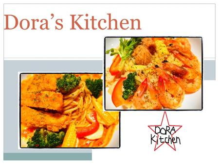 Dora's Kitchen. Hello, welcome to Dora's kitchen. At there we have many kind of spaghetti and snacks, you can choose your favorite meal. In addition,