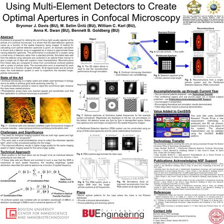 Using Multi-Element Detectors to Create Optimal Apertures in Confocal Microscopy This work was supported in part by CenSSIS, the Center for Subsurface.