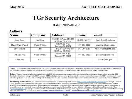 Doc.: IEEE 802.11-06/0566r1 Submission May 2006 Sood, Walker, Cam-Winget, CalhounSlide 1 TGr Security Architecture Notice: This document has been prepared.