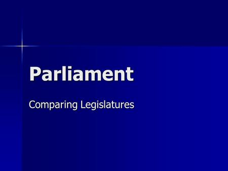 Parliament Comparing Legislatures. Westminster Model A democratic, parliamentary system of government modeled after that of the UK system A democratic,
