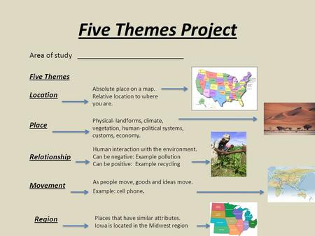 Five Themes Project Area of study ___________________________ Five Themes Location Place Relationship Movement Region Absolute place on a map. Relative.
