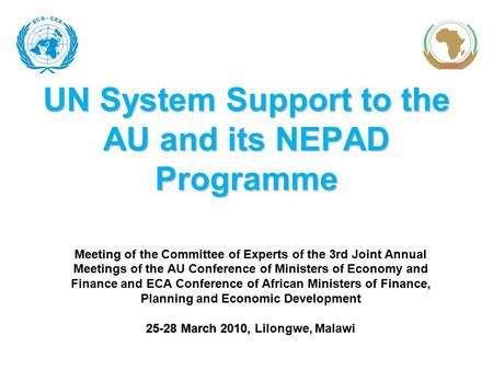 UN System Support to the AU and its NEPAD Programme Meeting of the Committee of Experts of the 3rd Joint Annual Meetings of the AU Conference of Ministers.