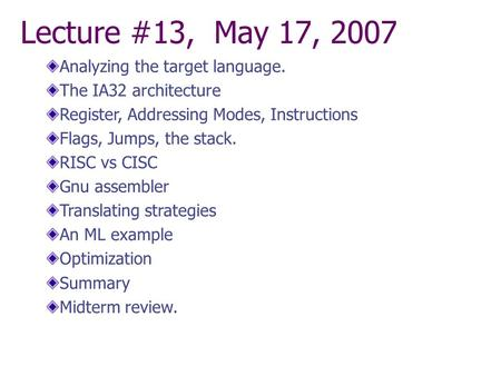 Lecture #13, May 17, 2007 Analyzing the target language. The IA32 architecture Register, Addressing Modes, Instructions Flags, Jumps, the stack. RISC vs.