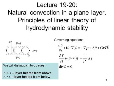 Lecture 19-20: Natural convection in a plane layer. Principles of linear theory of hydrodynamic stability 1 z x Governing equations: T=0T=0 T=AT=A h =1.