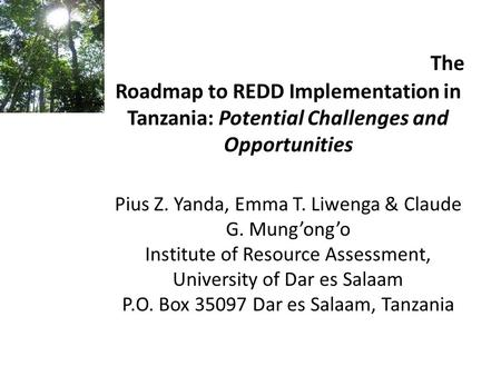 The Roadmap to REDD Implementation in Tanzania: Potential Challenges and Opportunities Pius Z. Yanda, Emma T. Liwenga & Claude G. Mung'ong'o Institute.