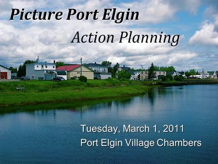 Picture Port Elgin Action Planning Tuesday, March 1, 2011 Port Elgin Village Chambers.