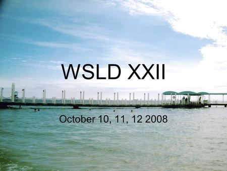 WSLD XXII October 10, 11, 12 2008 Workshops I Attended Fellowship Development Long Term Service and Recovery Technology Hospitals & Institutions Attraction.