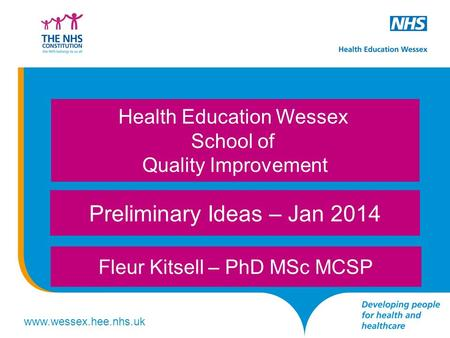 Www.wessex.hee.nhs.uk Preliminary Ideas – Jan 2014 Fleur Kitsell – PhD MSc MCSP Health Education Wessex School of Quality Improvement.