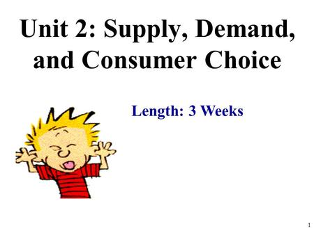 Unit 2: Supply, Demand, and Consumer Choice Length: 3 Weeks 1.