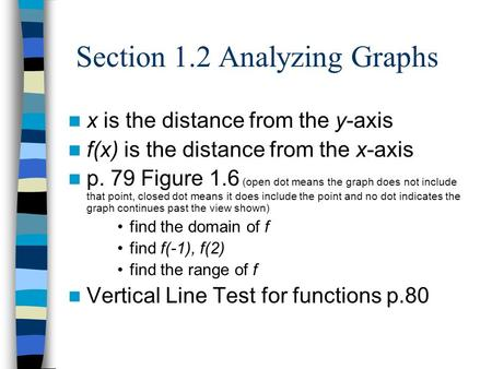 Section 1.2 Analyzing Graphs x is the distance from the y-axis f(x) is the distance from the x-axis p. 79 Figure 1.6 (open dot means the graph does not.