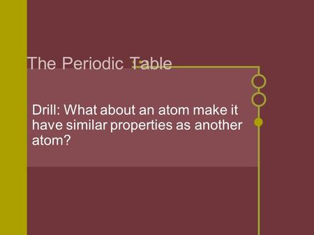 The Periodic Table Drill: What about an atom make it have similar properties as another atom?