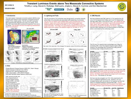 Transient Luminous Events above Two Mesoscale Convective Systems Timothy J. Lang, Steven A. Rutledge, Walt Lyons, Jingbo Li, Steven A. Cummer, and Don.