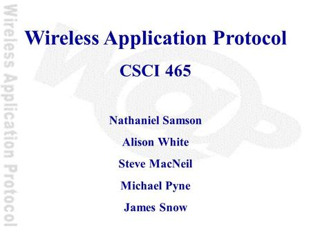 Wireless Application Protocol CSCI 465 Nathaniel Samson Alison White Steve MacNeil Michael Pyne James Snow.