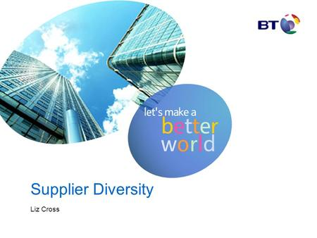 Supplier Diversity Liz Cross. Diversity in BT Race for Opportunity: Lloyds Bank BT West Bromwich BS The Army HSBC.