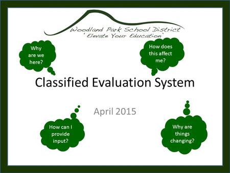Classified Evaluation System April 2015 Why are we here? Why are things changing? How does this affect me? How can I provide input?