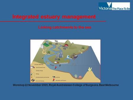 Integrated estuary management Linking catchments to the sea Worshop 22 November 2005, Royal Australasian College of Surgeons, East Melbourne.