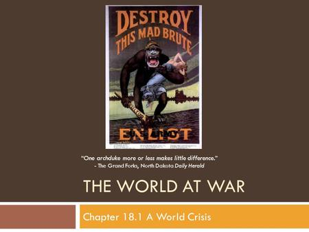 The World at war Chapter 18.1 A World Crisis