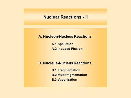 Nuclear Reactions - II A. Nucleon-Nucleus Reactions A.1 Spallation A.2 Induced Fission B. Nucleus-Nucleus Reactions B.1 Fragmentation B.2 Multifragmentation.