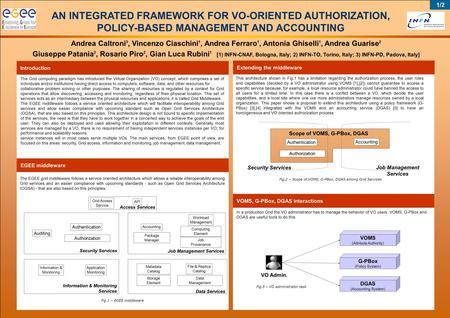 AN INTEGRATED FRAMEWORK FOR VO-ORIENTED AUTHORIZATION, POLICY-BASED MANAGEMENT AND ACCOUNTING Andrea Caltroni 3, Vincenzo Ciaschini 1, Andrea Ferraro 1,