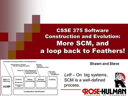 CSSE 375 Software Construction and Evolution: More SCM, and a loop back to Feathers! Shawn and Steve Left – On big systems, SCM is a well-defined process.
