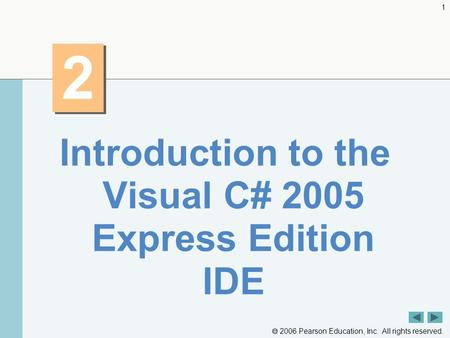  2006 Pearson Education, Inc. All rights reserved. 1 2 2 Introduction to the Visual C# 2005 Express Edition IDE.