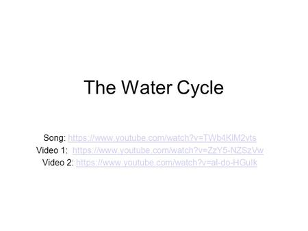The Water Cycle Song: https://www.youtube.com/watch?v=TWb4KlM2vtshttps://www.youtube.com/watch?v=TWb4KlM2vts Video 1: https://www.youtube.com/watch?v=ZzY5-NZSzVwhttps://www.youtube.com/watch?v=ZzY5-NZSzVw.