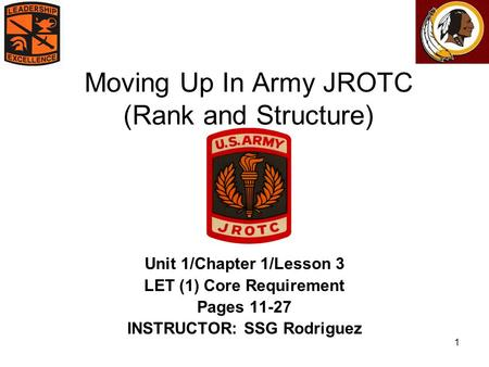 1 Moving Up In Army JROTC (Rank and Structure) Unit 1/Chapter 1/Lesson 3 LET (1) Core Requirement Pages 11-27 INSTRUCTOR: SSG Rodriguez.