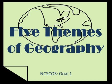 Five Themes of Geography NCSCOS: Goal 1. What are the Five Themes of Geography? 1.Location 2.Place 3.Human-Environment Interactions 4.Movement 5.Regions.