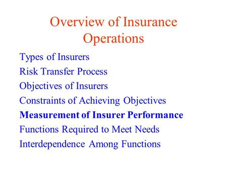 Overview of Insurance Operations Types of Insurers Risk Transfer Process Objectives of Insurers Constraints of Achieving Objectives Measurement of Insurer.