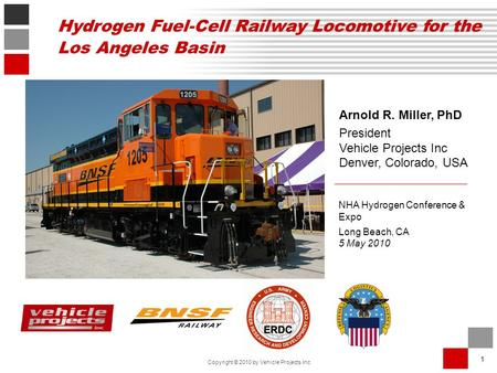 1 Copyright © 2010 by Vehicle Projects Inc Arnold R. Miller, PhD President Vehicle Projects Inc Denver, Colorado, USA NHA Hydrogen Conference & Expo Long.