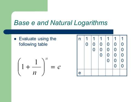 Base e and Natural Logarithms