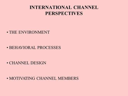 INTERNATIONAL CHANNEL PERSPECTIVES THE ENVIRONMENT BEHAVIORAL PROCESSES CHANNEL DESIGN MOTIVATING CHANNEL MEMBERS.