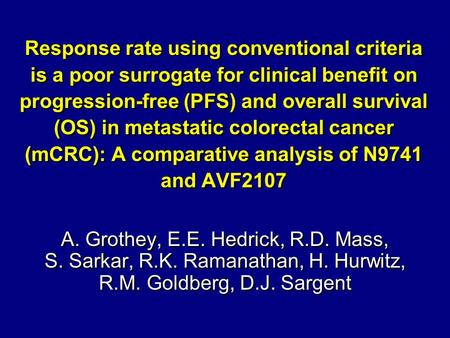 Response rate using conventional criteria is a poor surrogate for clinical benefit on progression-free (PFS) and overall survival (OS) in metastatic colorectal.