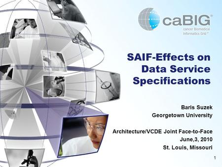 1 SAIF-Effects on Data Service Specifications Baris Suzek Georgetown University Architecture/VCDE Joint Face-to-Face June,3, 2010 St. Louis, Missouri.