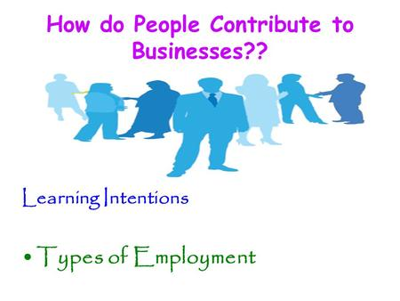 How do People Contribute to Businesses?? Learning Intentions Types of Employment.