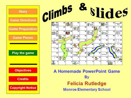A Homemade PowerPoint Game By Felicia Rutledge Monroe Elementary School Play the game Game Directions Story Credits Copyright Notice Game Preparation Objectives.