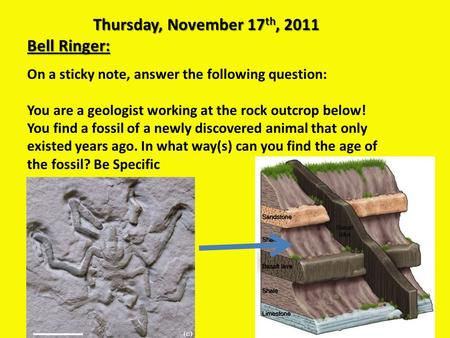 Thursday, November 17 th, 2011 Bell Ringer: On a sticky note, answer the following question: You are a geologist working at the rock outcrop below! You.