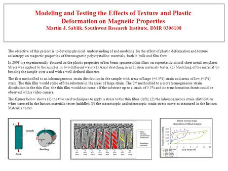 The objective of this project is to develop physical understanding of and modeling for the effect of plastic deformation and texture anisotropy on magnetic.