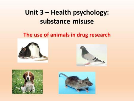 Unit 3 – Health psychology: substance misuse The use of animals in drug research.