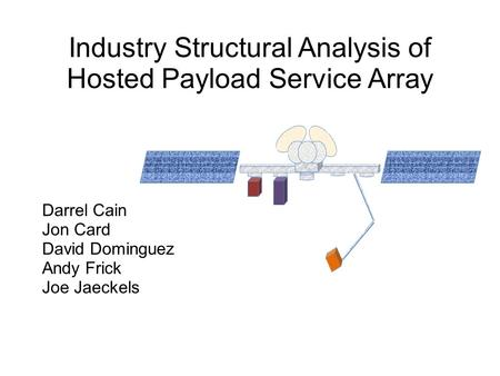 Industry Structural Analysis of Hosted Payload Service Array Darrel Cain Jon Card David Dominguez Andy Frick Joe Jaeckels.