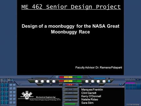 0 2 1 4 3 5 8 76 9 ME 462 Senior Design Project Design of a moonbuggy for the NASA Great Moonbuggy Race Faculty Advisor: Dr. Ramana Pidaparti Marques Franklin.