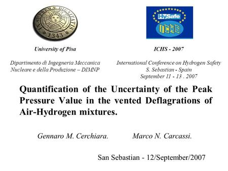 Quantification of the Uncertainty of the Peak Pressure Value in the vented Deflagrations of Air-Hydrogen mixtures. San Sebastian - 12/September/2007 Marco.