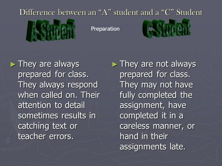 "Difference between an ""A"" student and a ""C"" Student ► They are always prepared for class. They always respond when called on. Their attention to detail."